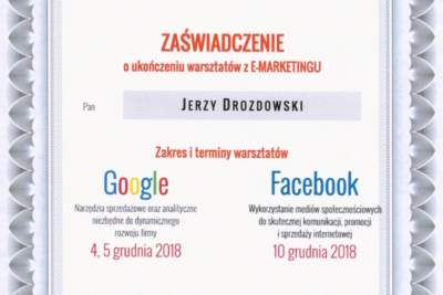 Zaświadczenie o ukończeniu warsztatów z E-Marketingu